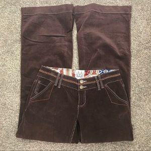 Miss Me brown corduroy flare lightweight pants